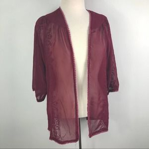 Fun and Flirt maroon sheer embroidered cardigan